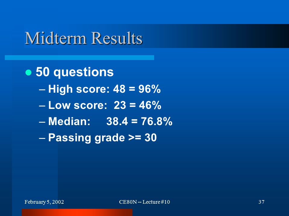 February 5, 2002CE80N -- Lecture #1037 Midterm Results 50 questions –High score: 48 = 96% –Low score: 23 = 46% –Median: 38.4 = 76.8% –Passing grade >= 30