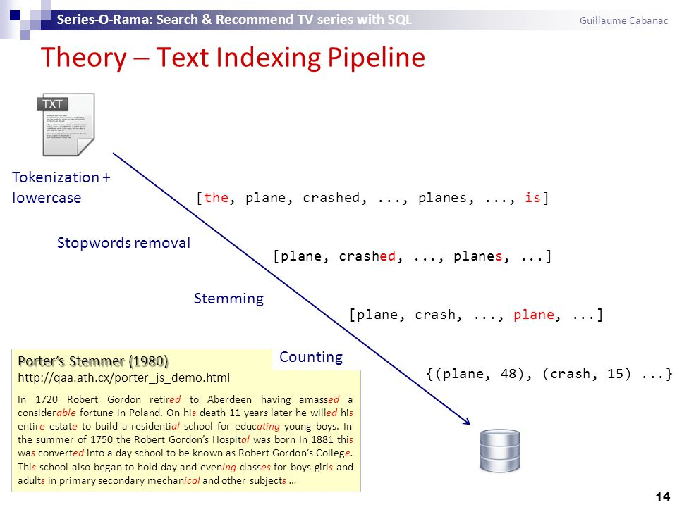 Theory  Text Indexing Pipeline 14 Series-O-Rama: Search & Recommend TV series with SQL Guillaume Cabanac [the, plane, crashed,..., planes,..., is] [plane, crashed,..., planes,...] [plane, crash,..., plane,...] {(plane, 48), (crash, 15)...} Tokenization + lowercase Stopwords removal Stemming Porter's Stemmer (1980) Porter's Stemmer (1980) http://qaa.ath.cx/porter_js_demo.html In 1720 Robert Gordon retired to Aberdeen having amassed a considerable fortune in Poland.