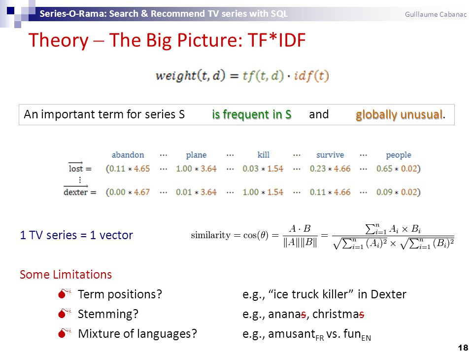 Theory  The Big Picture: TF*IDF 18 Series-O-Rama: Search & Recommend TV series with SQL Guillaume Cabanac 1 TV series = 1 vector Some Limitations  Term positions e.g., ice truck killer in Dexter  Stemming e.g., ananas, christmas  Mixture of languages.