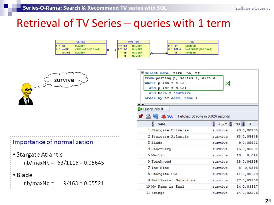 Retrieval of TV Series  queries with 1 term 21 Series-O-Rama: Search & Recommend TV series with SQL Guillaume Cabanac survive ⋈ Importance of normalization Stargate Atlantis nb/maxNb = 63/1116 = 0.05645 Blade nb/maxNb = 9/163 = 0.05521