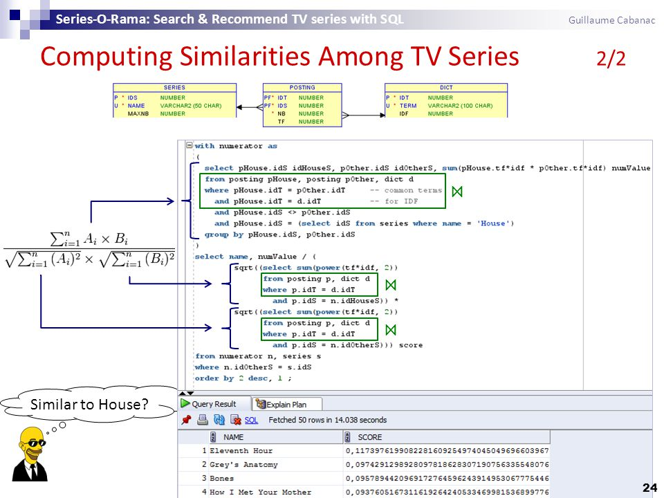 Similar to House? Computing Similarities Among TV Series 2/2 Series-O-Rama: Search & Recommend TV series with SQL Guillaume Cabanac ⋈ ⋈ ⋈ 24