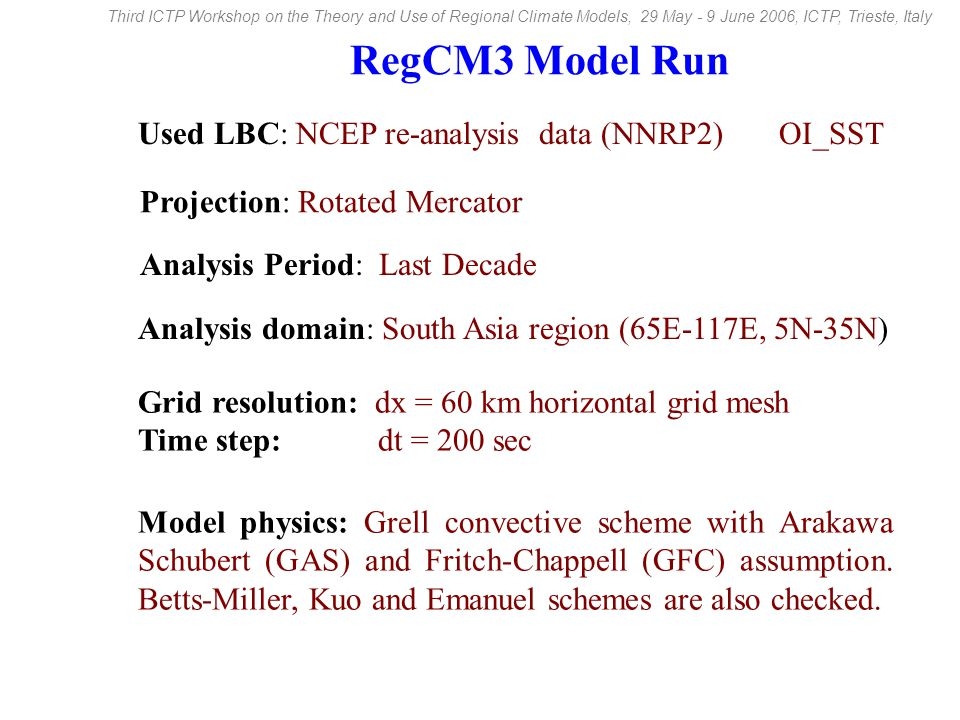 RegCM3 Model Run Model physics: Grell convective scheme with Arakawa Schubert (GAS) and Fritch-Chappell (GFC) assumption.