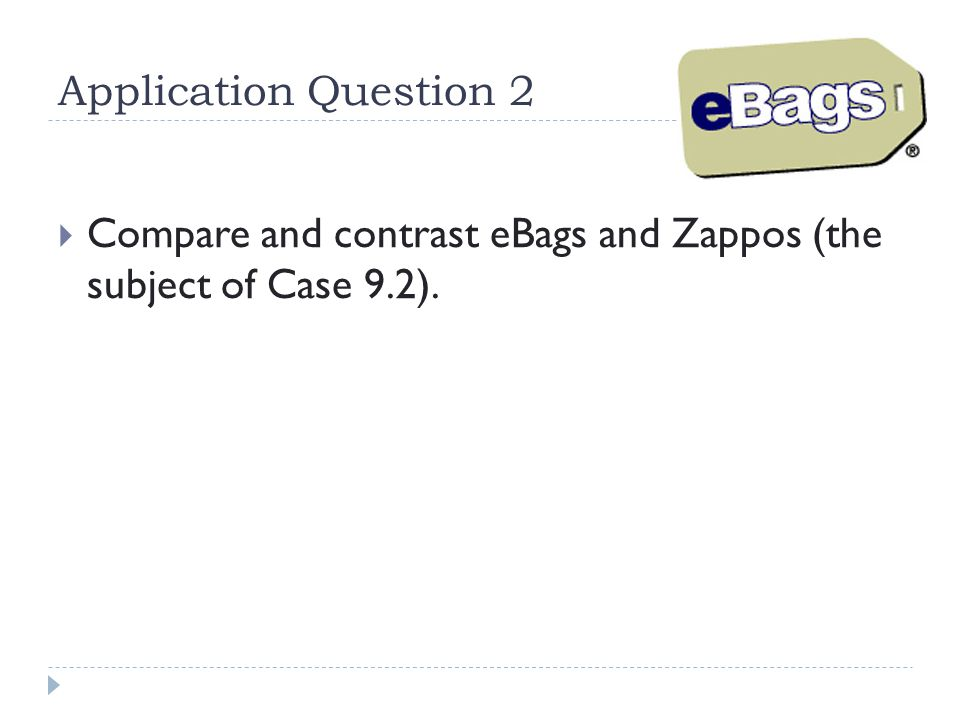 Application Question 2  Compare and contrast eBags and Zappos (the subject of Case 9.2).