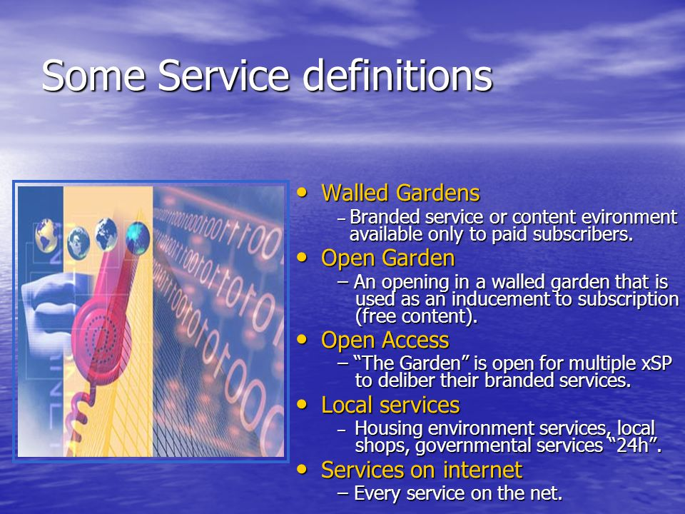 Some Service definitions Walled Gardens Walled Gardens – Branded service or content evironment available only to paid subscribers.