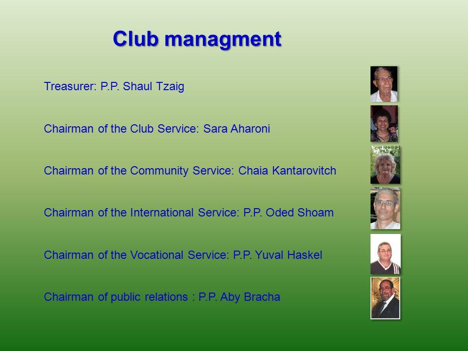 Club managment Treasurer: P.P. Shaul Tzaig Chairman of the Club Service: Sara Aharoni Chairman of the Community Service: Chaia Kantarovitch Chairman o