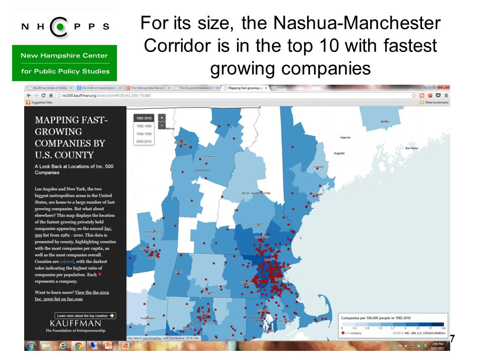 17 For its size, the Nashua-Manchester Corridor is in the top 10 with fastest growing companies 17