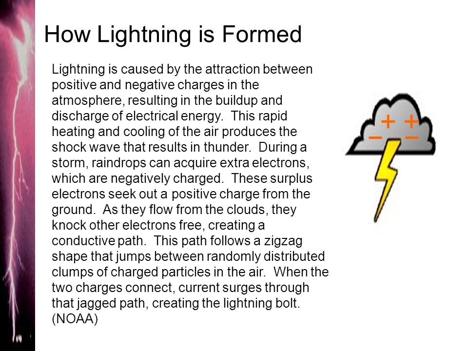 How Lightning is Formed ++ Lightning is caused by the attraction between positive and negative charges in the atmosphere, resulting in the buildup and discharge of electrical energy.