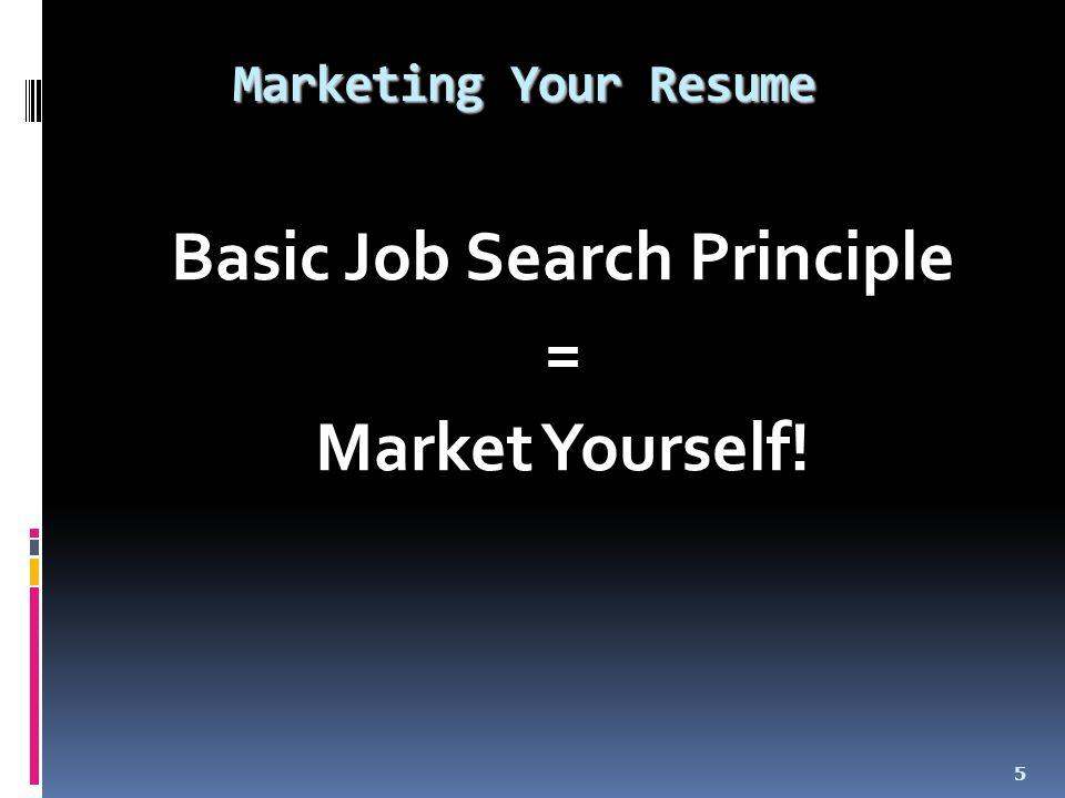 Marketing Your Resume Basic Job Search Principle = Market Yourself! 5