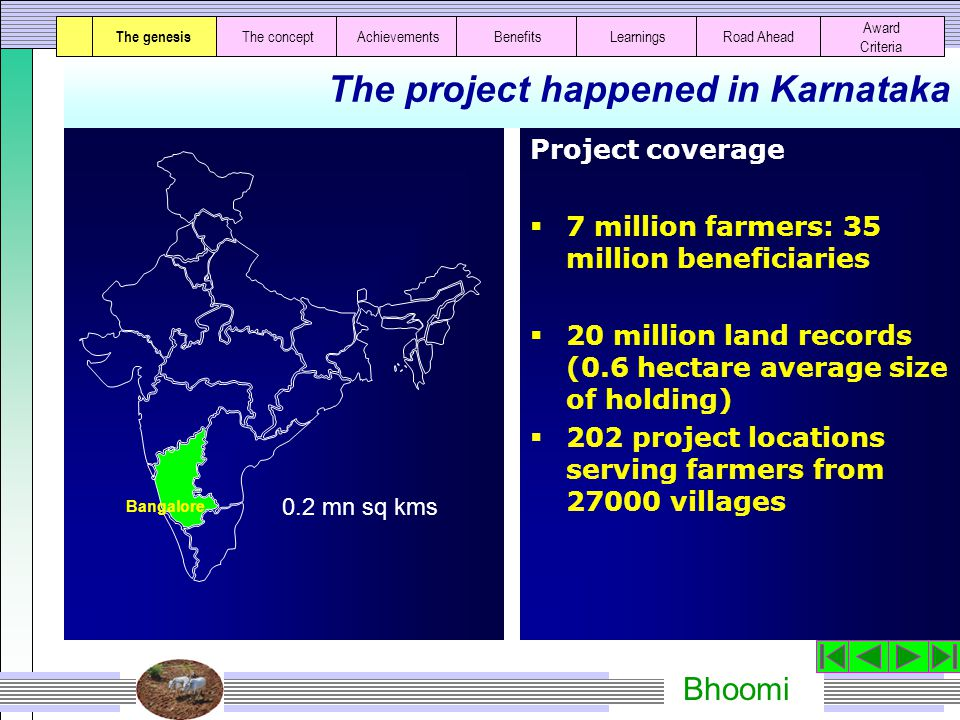 The project happened in Karnataka Project coverage  7 million farmers: 35 million beneficiaries  20 million land records (0.6 hectare average size of holding)  202 project locations serving farmers from 27000 villages The genesis The conceptAchievementsBenefitsLearningsRoad Ahead 0.2 mn sq kms Bangalore Award Criteria
