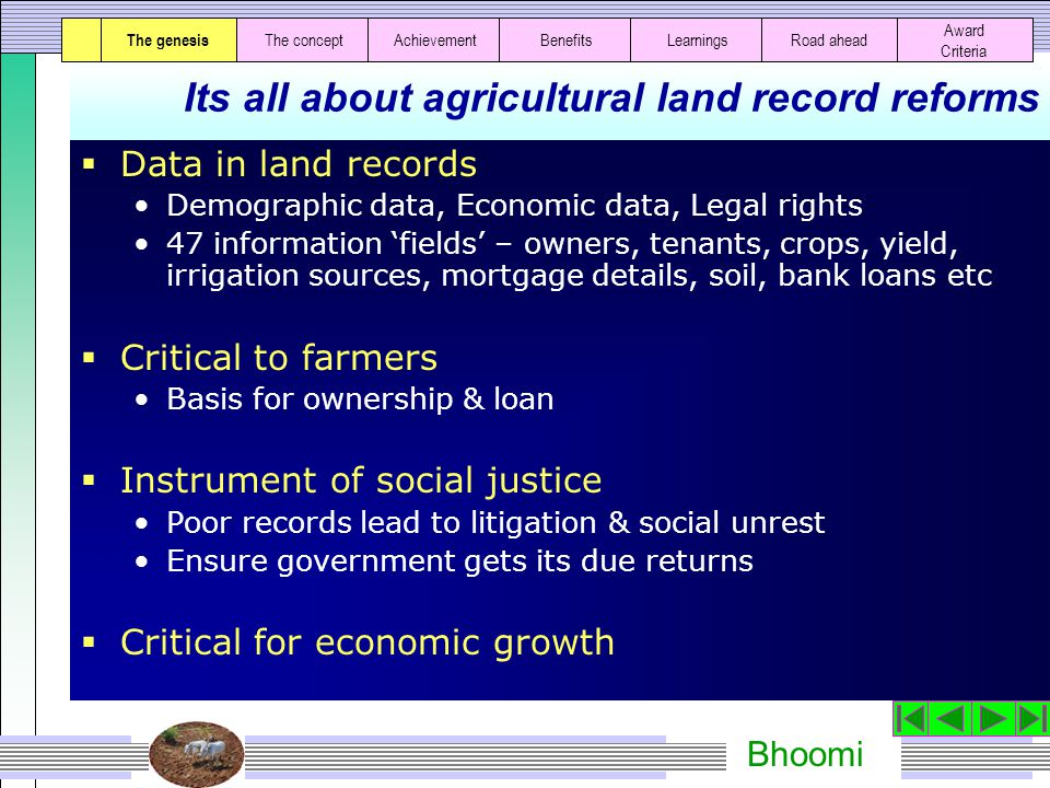 Bhoomi The essence of Bhoomi Bhoomi is a farmer friendly mechanism to access and update land records using state of art technology The genesisThe concept AchievementBenefitsLearningsRoad ahead Award Criteria