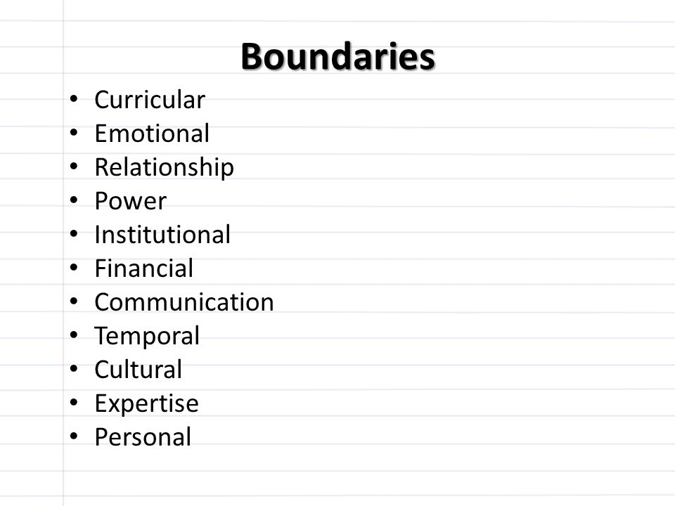 Boundaries Curricular Emotional Relationship Power Institutional Financial Communication Temporal Cultural Expertise Personal