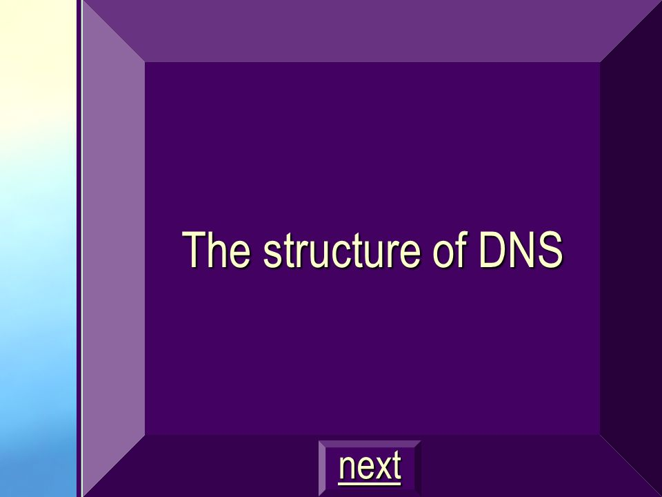The structure of DNS next