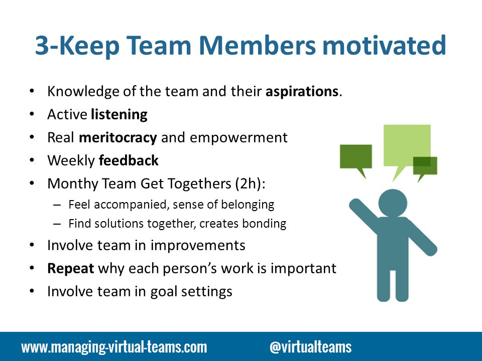 3-Keep Team Members motivated Knowledge of the team and their aspirations.