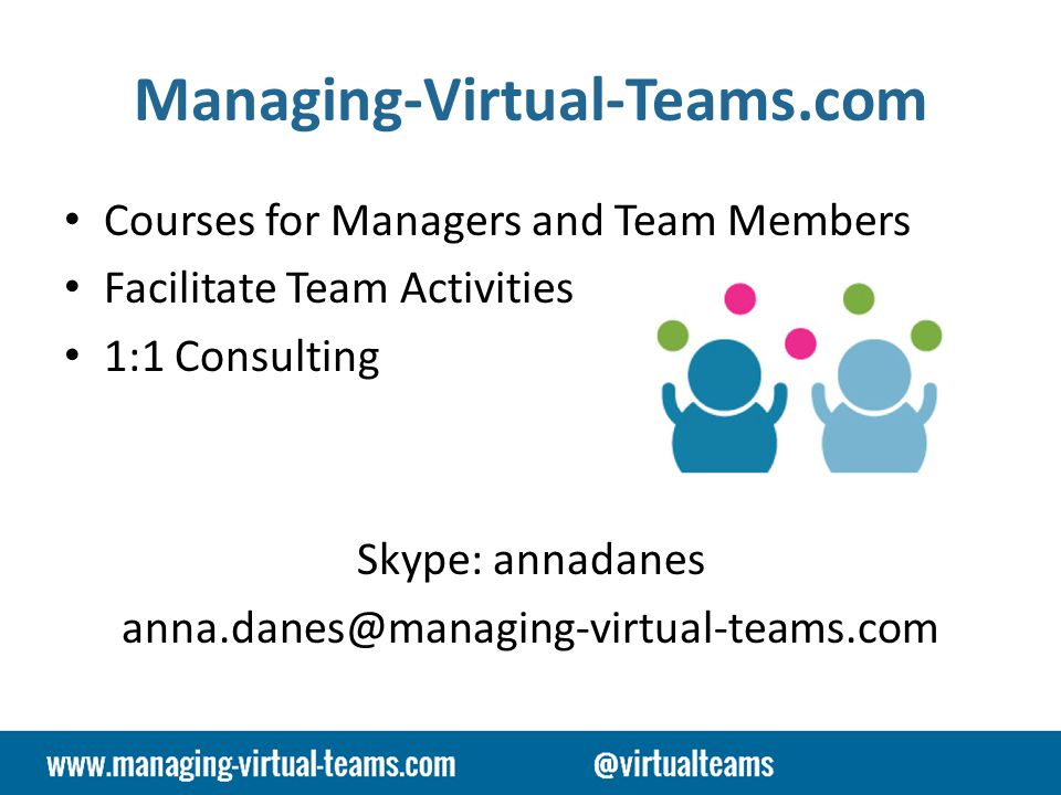 Managing-Virtual-Teams.com Courses for Managers and Team Members Facilitate Team Activities 1:1 Consulting Skype: annadanes anna.danes@managing-virtual-teams.com