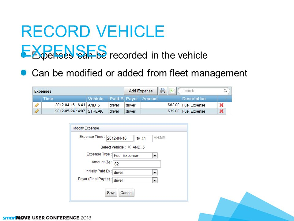 Expenses can be recorded in the vehicle Can be modified or added from fleet management RECORD VEHICLE EXPENSES