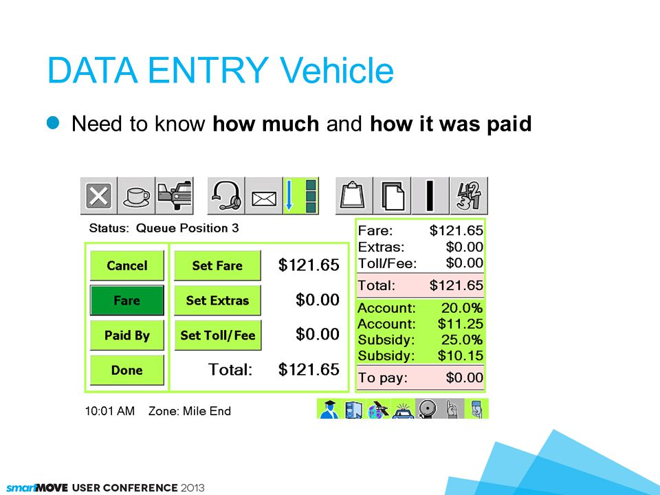 Details set in vehicle or come from dispatch client DATA ENTRY Vehicle
