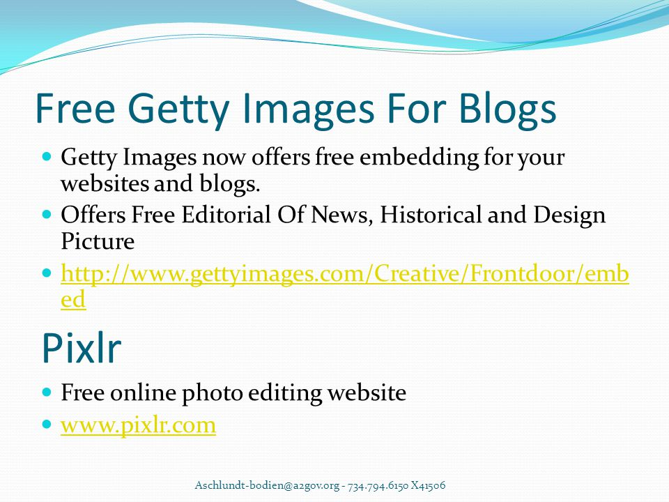 Free Getty Images For Blogs Getty Images now offers free embedding for your websites and blogs.