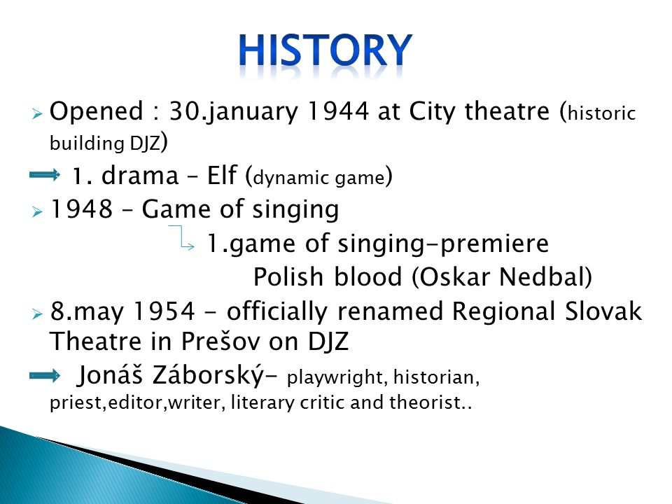  Opened : 30.january 1944 at City theatre ( historic building DJZ ) 1. drama – Elf ( dynamic game )  1948 – Game of singing 1.game of singing-premie