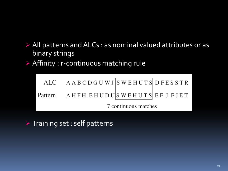  All patterns and ALCs : as nominal valued attributes or as binary strings  Affinity : r-continuous matching rule  Training set : self patterns 22