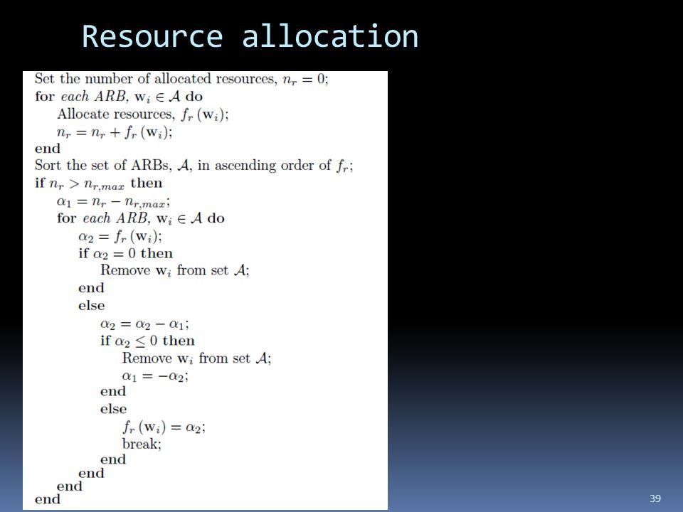Resource allocation 39