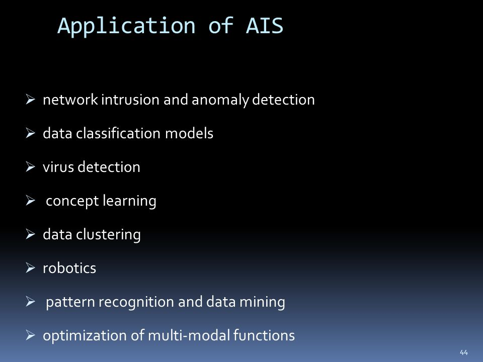 Application of AIS  network intrusion and anomaly detection  data classification models  virus detection  concept learning  data clustering  rob