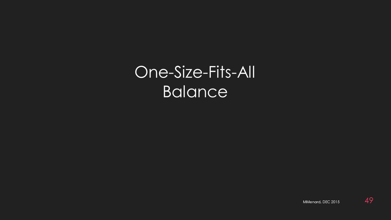 MMenard, DEC 2015 49 One-Size-Fits-All Balance