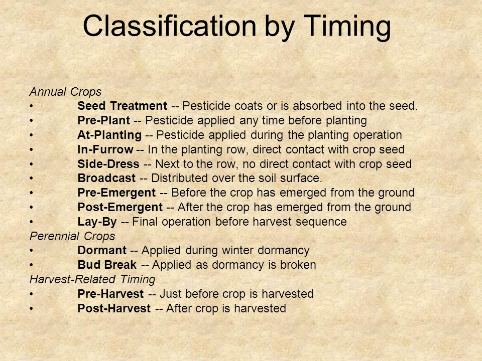 Classification by Timing Annual Crops Seed Treatment -- Pesticide coats or is absorbed into the seed.