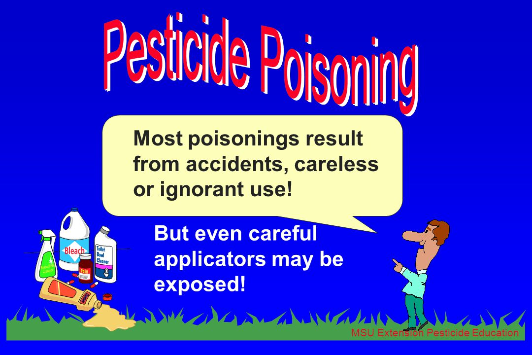 MSU Extension Pesticide Education Most poisonings result from accidents, careless or ignorant use! But even careful applicators may be exposed!