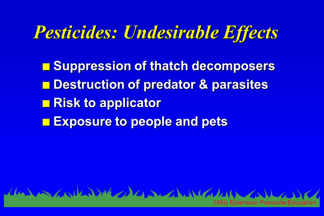MSU Extension Pesticide Education Pesticides: Undesirable Effects n Suppression of thatch decomposers n Destruction of predator & parasites n Risk to applicator n Exposure to people and pets