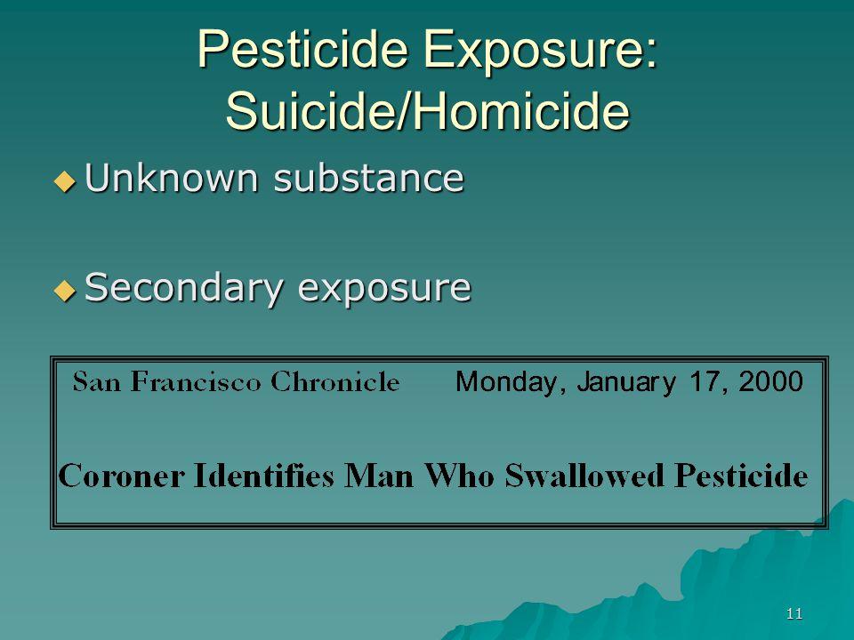 11 Pesticide Exposure: Suicide/Homicide  Unknown substance  Secondary exposure