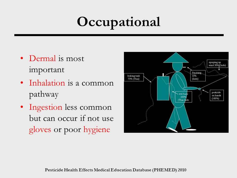 Pesticide Health Effects Medical Education Database (PHEMED) 2010 Occupational Dermal is most important Inhalation is a common pathway Ingestion less common but can occur if not use gloves or poor hygiene