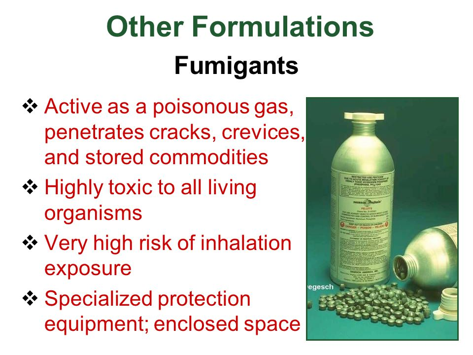  Active as a poisonous gas, penetrates cracks, crevices, and stored commodities  Highly toxic to all living organisms  Very high risk of inhalation
