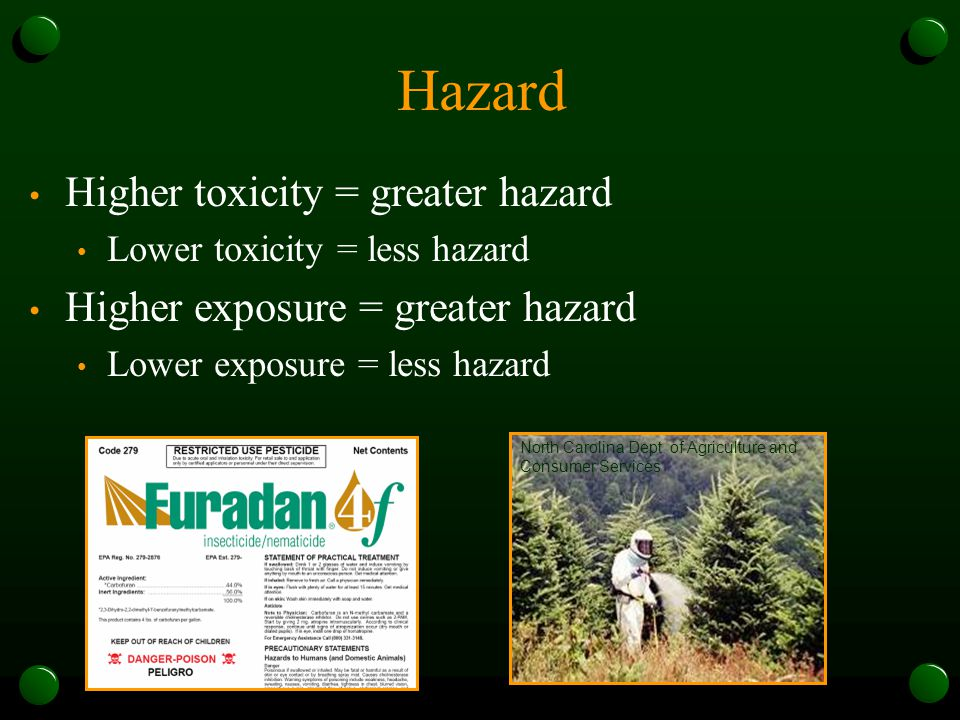 Hazard Higher toxicity = greater hazard Lower toxicity = less hazard Higher exposure = greater hazard Lower exposure = less hazard North Carolina Dept.