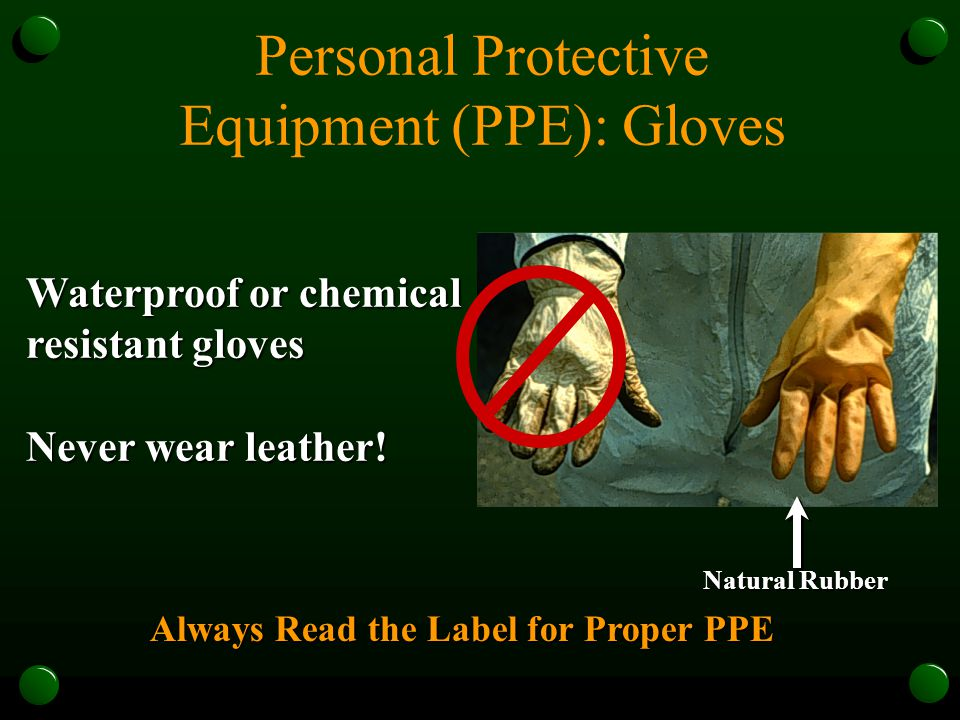 Personal Protective Equipment (PPE): Gloves Waterproof or chemical resistant gloves Never wear leather.