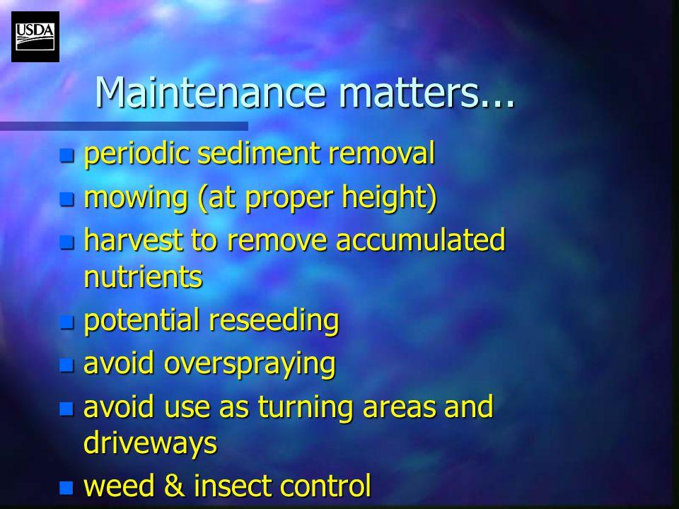 Maintenance matters...
