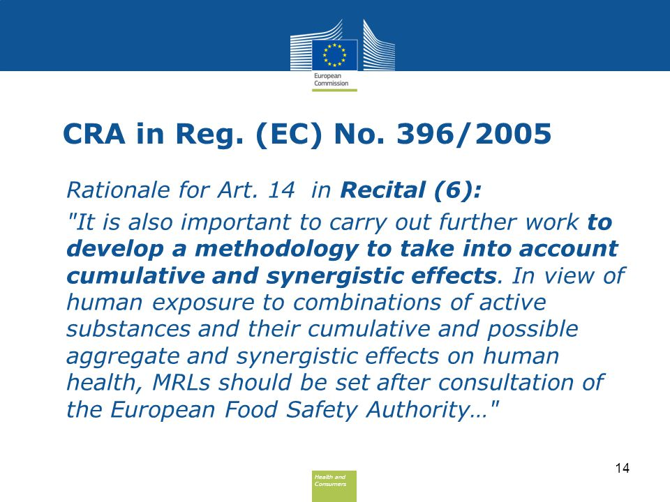 Health and Consumers Health and Consumers CRA in Reg. (EC) No. 396/2005 Rationale for Art. 14 in Recital (6):