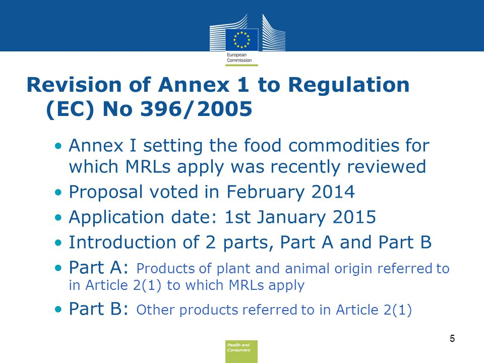 Health and Consumers Health and Consumers Revision of Annex 1 to Regulation (EC) No 396/2005 Annex I setting the food commodities for which MRLs apply