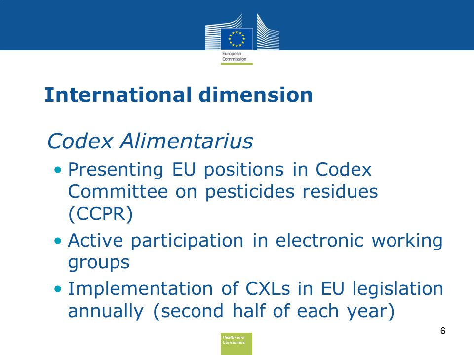 Health and Consumers Health and Consumers International dimension Codex Alimentarius Presenting EU positions in Codex Committee on pesticides residues