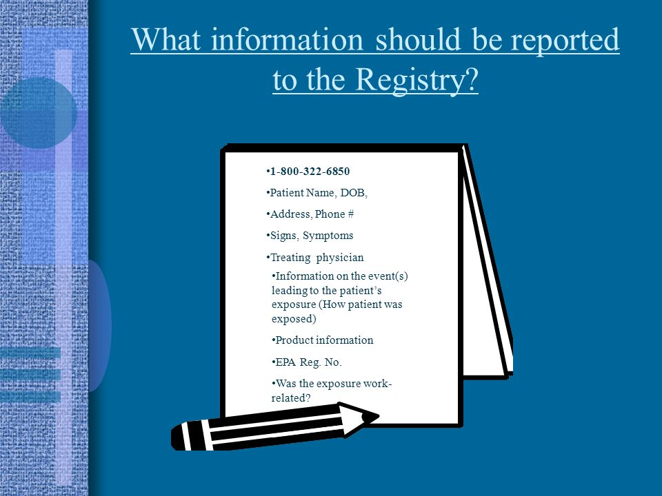 What information should be reported to the Registry.