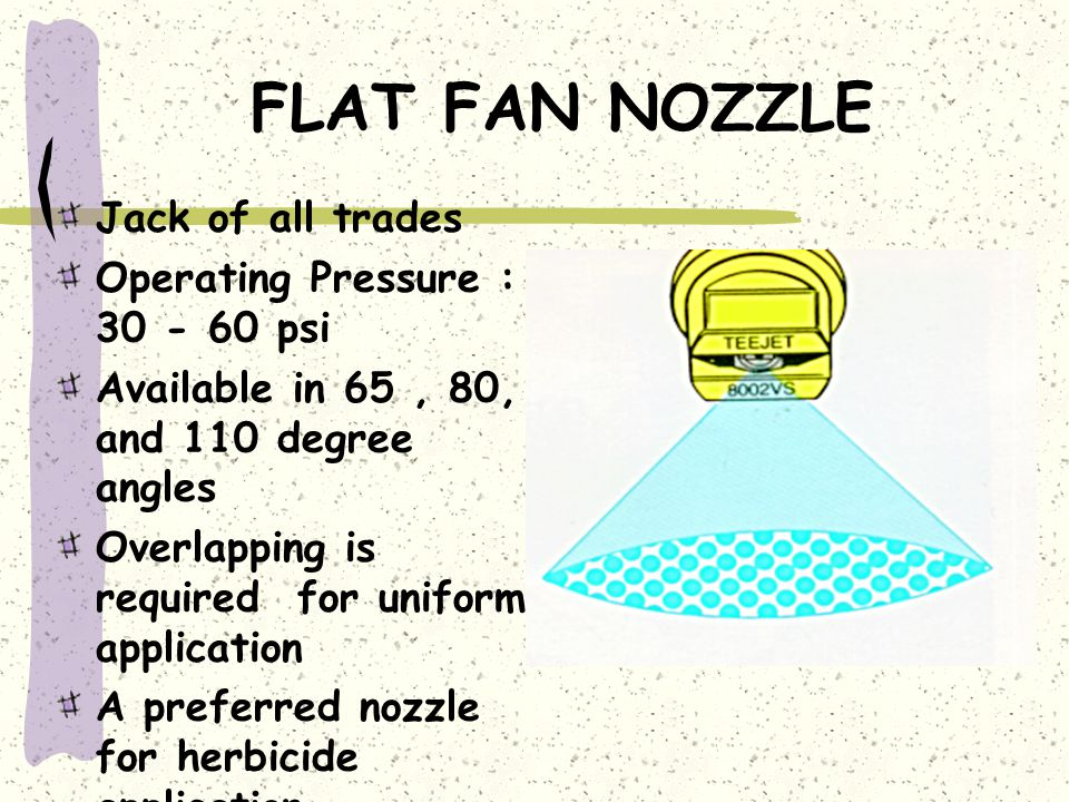 NOZZLE PATTERN Not every nozzle is created equal ! ! MAJOR TYPES 1)Standard Flat Fan 2)Extended-Range Flat Fan 3)Even Flat Fan 4)Twin Flat Fan 5)Flood