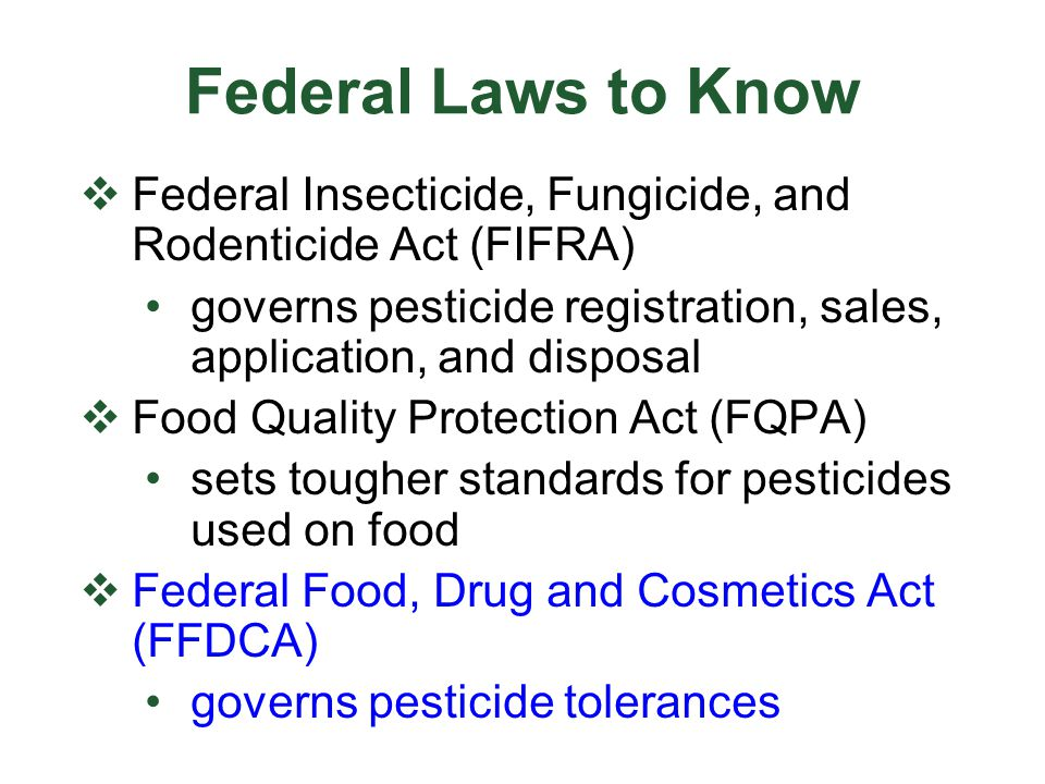 The Worker Protection Standard (WPS - agriculture only )  Employers must provide protections against possible harm from pesticides  Reduces pesticide risks to:  agricultural workers  pesticide handlers  Applies to owners and operators who apply pesticides on agricultural lands, as well as consultants