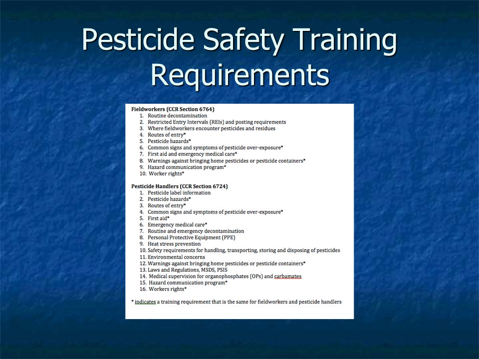 Pesticide Safety Training Requirements