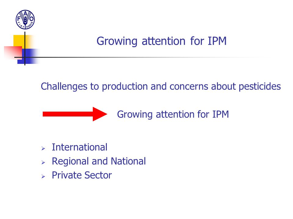 Growing attention for IPM Challenges to production and concerns about pesticides Growing attention for IPM  International  Regional and National  P