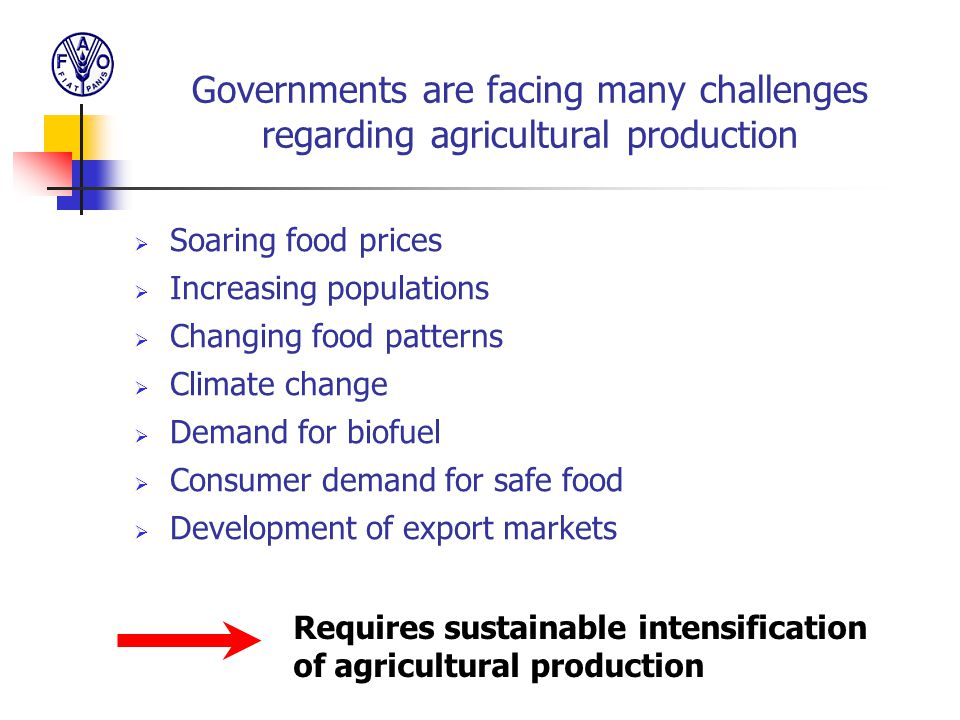 Governments are facing many challenges regarding agricultural production  Soaring food prices  Increasing populations  Changing food patterns  Cli