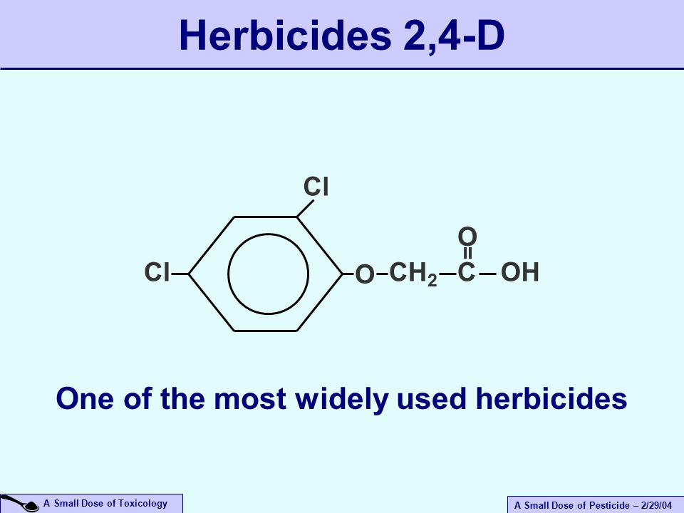 A Small Dose of Pesticide – 2/29/04 A Small Dose of Toxicology Herbicides 2,4-D Cl O CH 2 COH = O One of the most widely used herbicides