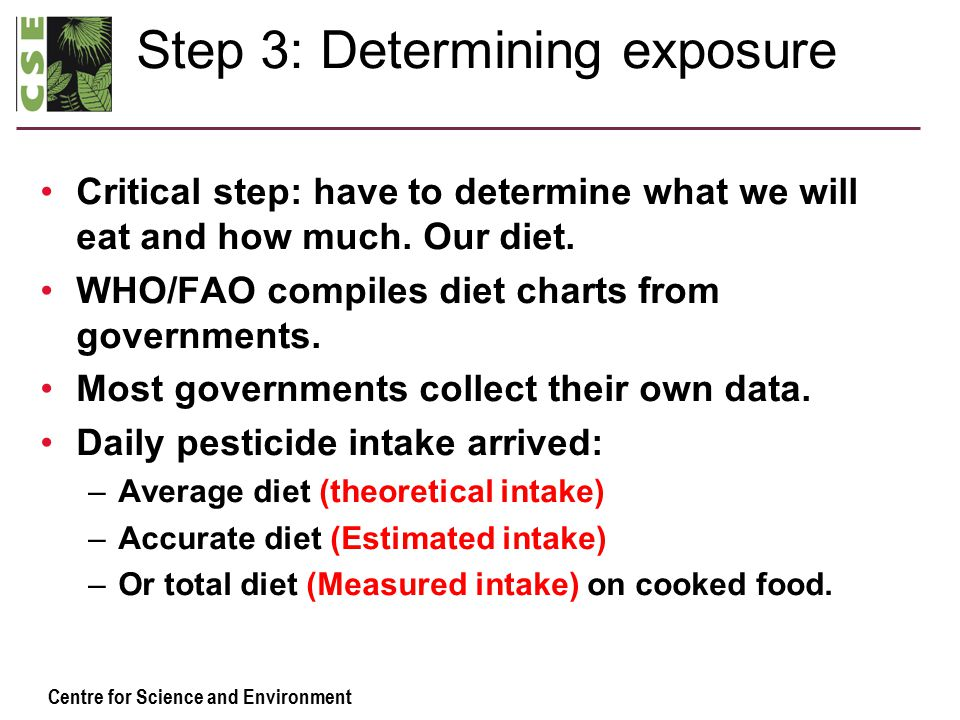 Centre for Science and Environment Step 3: Determining exposure Critical step: have to determine what we will eat and how much.