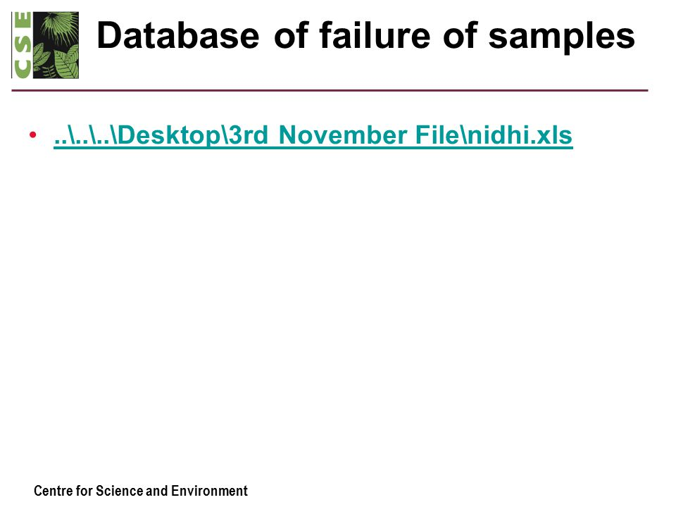 Centre for Science and Environment Database of failure of samples..\..\..\Desktop\3rd November File\nidhi.xls