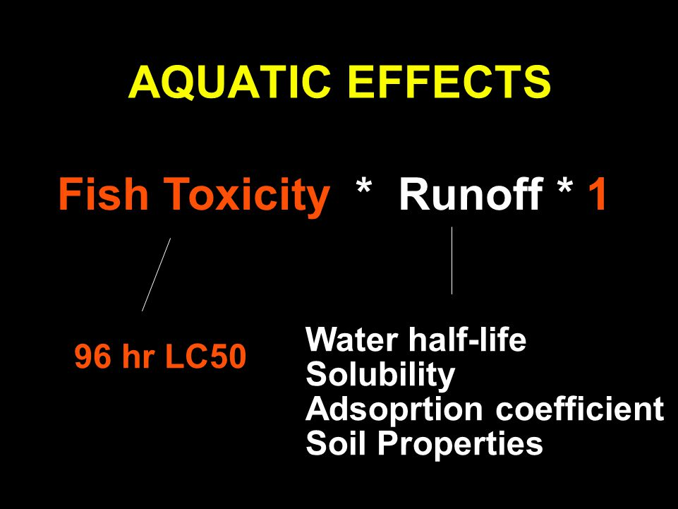 AQUATIC EFFECTS Fish Toxicity * Runoff * 1 96 hr LC50 Water half-life Solubility Adsoprtion coefficient Soil Properties
