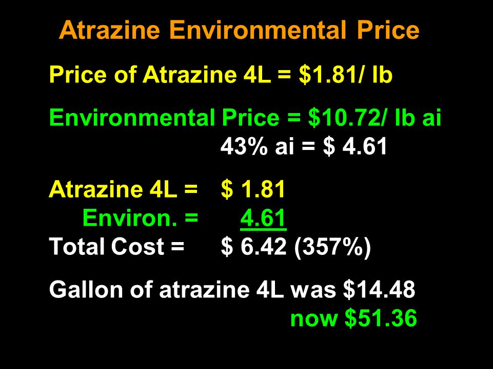 Atrazine Environmental Price Price of Atrazine 4L = $1.81/ lb Environmental Price = $10.72/ lb ai 43% ai = $ 4.61 Atrazine 4L = $ 1.81 Environ.