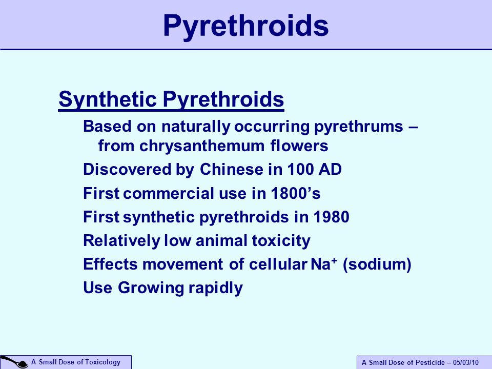 A Small Dose of Toxicology A Small Dose of Pesticide – 05/03/10 Pyrethroids Synthetic Pyrethroids Based on naturally occurring pyrethrums – from chrysanthemum flowers Discovered by Chinese in 100 AD First commercial use in 1800's First synthetic pyrethroids in 1980 Relatively low animal toxicity Effects movement of cellular Na + (sodium) Use Growing rapidly